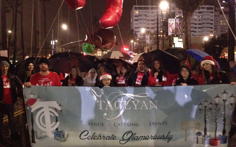 The Taglyan Family And Volunteers Walk in the Annual Hollywood Christmas Parade to Raise Money for Toys For Tots