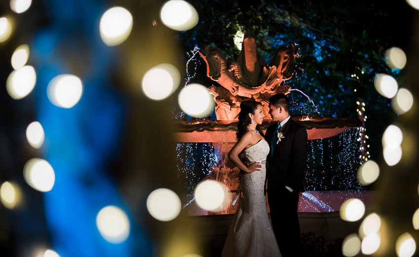 Wedding Venue In Los Angeles - Couple in Taglyan Gardens at Night