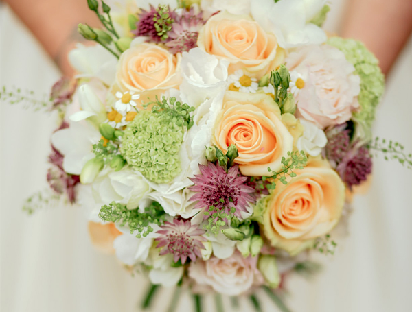 Wedding Flowers - Bouquet With Peach Roses